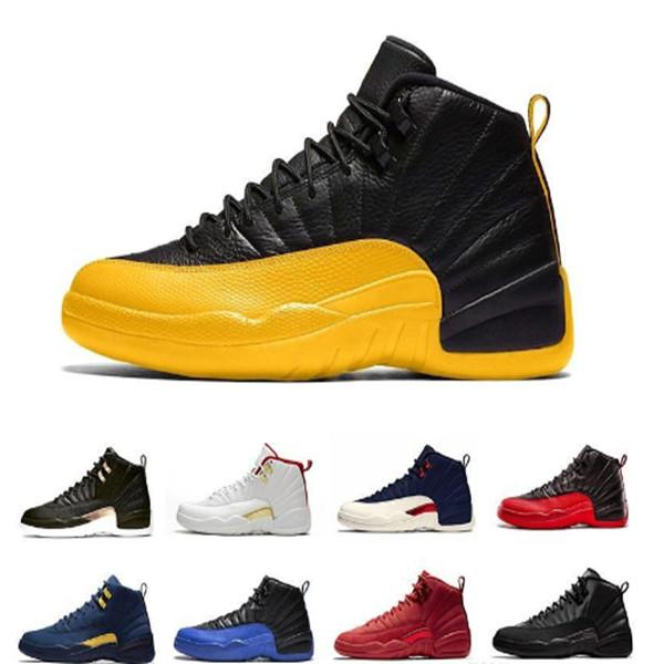 Cheap 12 12s FIBA CNY Bumblebee Mens Basketball Shoes Reverse Taxi Game Royal Blue Gym Red Wings Grey men sports designer sneakers trainers