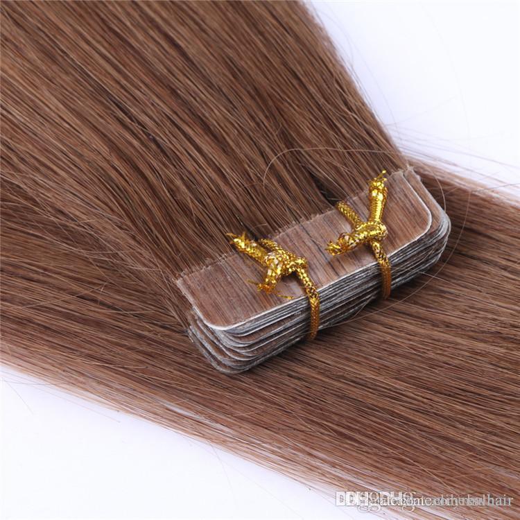 Braun Farbe Pu Band in dem Menschenhaar 16- 22inch unsichtbares seidiges gerade Klebeband auf Remy Haar-Verlängerungen 200grams Lot, freies DHL