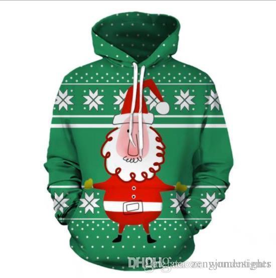 Diseñador de Navidad para hombre otoño verde floral jerséis con capucha de manga larga Imprimir Homme Festival de la ropa de moda del estilo de la ropa ocasional