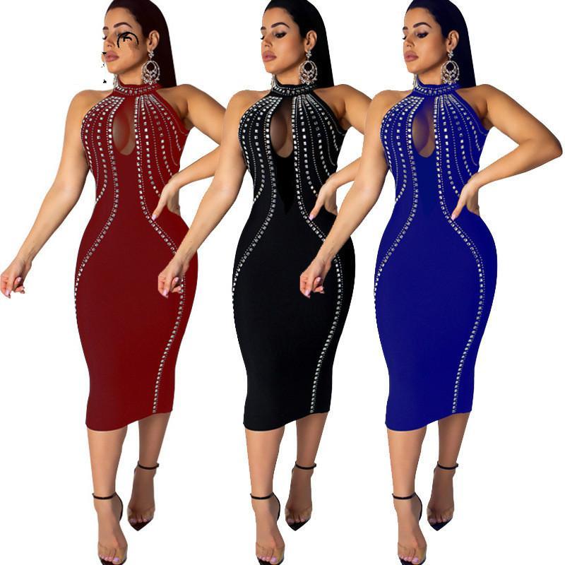 Februaryfrost 2020 Women Sexy Sleeveless Backless Diamonds Rhinestone Dresses See Through Mesh Bodycon Party Dress