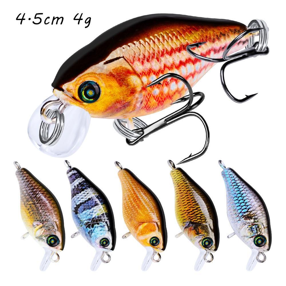 10 Color Crank Hard Baits & Lures 4.5CM 4G 10# Fishing Hooks Pesca Fishing Tackle KL_34