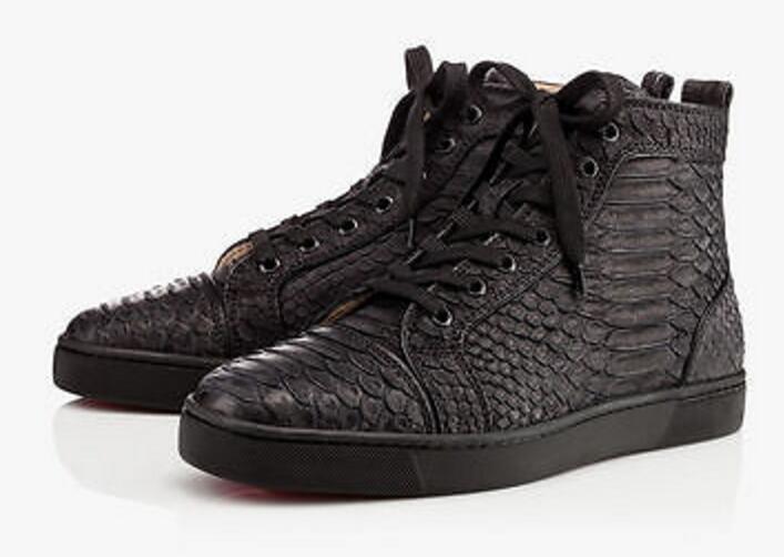 França Hot Men amantes de luxo Man Plano sapatilha preta Python cera vermelha inferior Homens Sneakers Couro Python Aquarel casamento Sapatos casuais