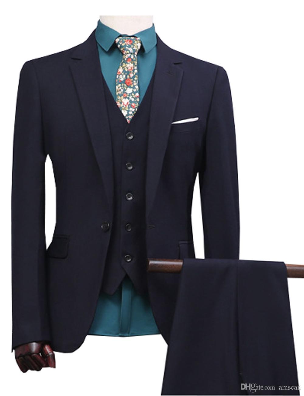Homens Terno Ocasional Único Breasted Terno Conjunto Do Noivo Do Casamento Elegante Prom Dress Men Desgaste Do Partido 3 Peças (Jacket + Vest + Calças) dsy044