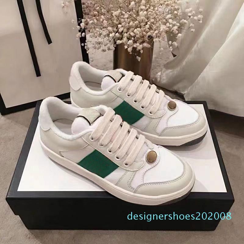 İyi Kalite Yeni Eleme Kirli tasarımcı Lüks Gerçek Deri Tasarımcı Sneaker Man ACE Kadınlar D08 için çilek Casual ayakkabılar işlemeli