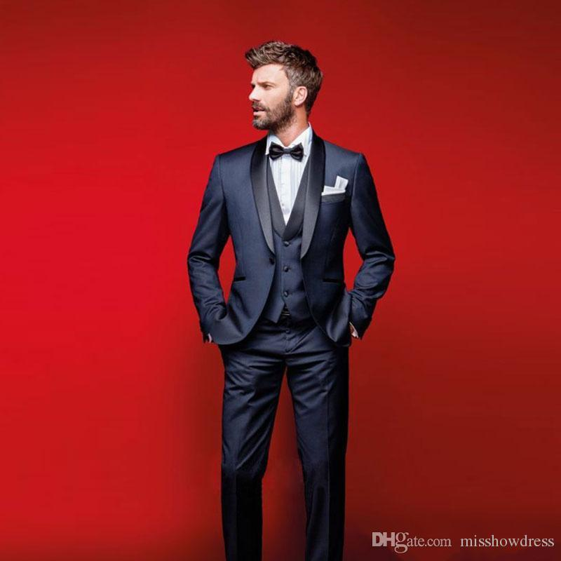 Navy Blue Wedding Tuxedos Slim Fit Suits For Men Groomsmen Suit Three Pieces Cheap Prom Formal Suits (Jacket +Pants+Vest)