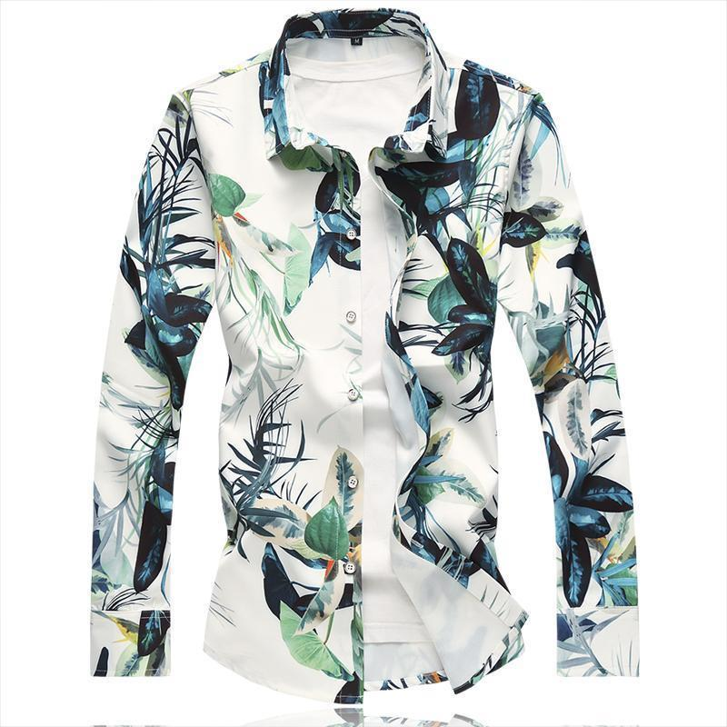 6XL Nice Pop Vogue Mens Shirt Chinese Style Print Long Sleeve Shirt Men Chemise Homme High Quality Casual Slim Fit Mens Shirts