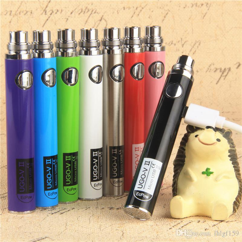 Оригинал UGO V II 2 650 900 мАч EVOD эго 510 Аккумулятор микро USB Passthrough Come испарители электронных сигареты O ручка Vape новых конструкций