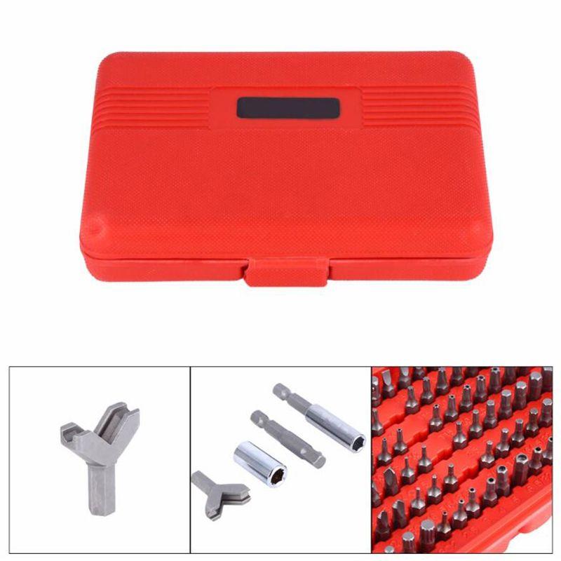 100 unids Destornillador Conjuntos de bits Conjunto de bits de seguridad Conjunto de surtido de acero cromo vanadio Herramientas de alimentación con caja de tornillo cuadrado