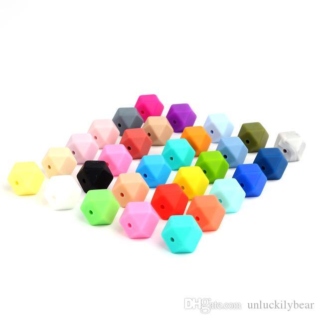 100 pezzi 14mm Hexagon Silicone Beads Dentizione Baby Massaggiagengive Baby FAI DA TE Baby Shower Regalo Collana Ciuccio Catena