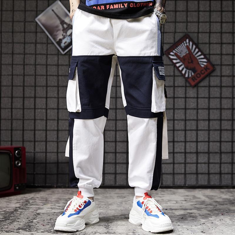 Compre Pantalon De Ropa De Trabajo De Moda Pantalones De Hombre Pantalones Sueltos Pantalones Casuales Multibolsillos Japoneses Pantalones De Chandal Blancos De Nueve Centavos Para Hombre A 37 7 Del Guyu11 Dhgate Com