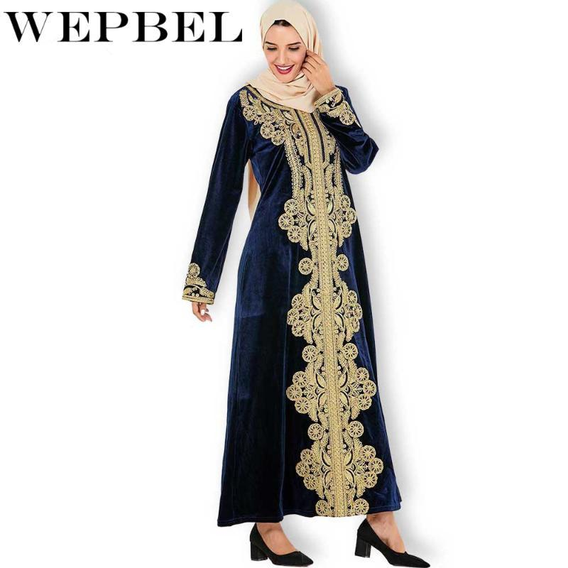 WEPBEL Women's Dress Long Sleeve Maxi Dress Embroidered Kaftan Evening Gowns Long Plus Size