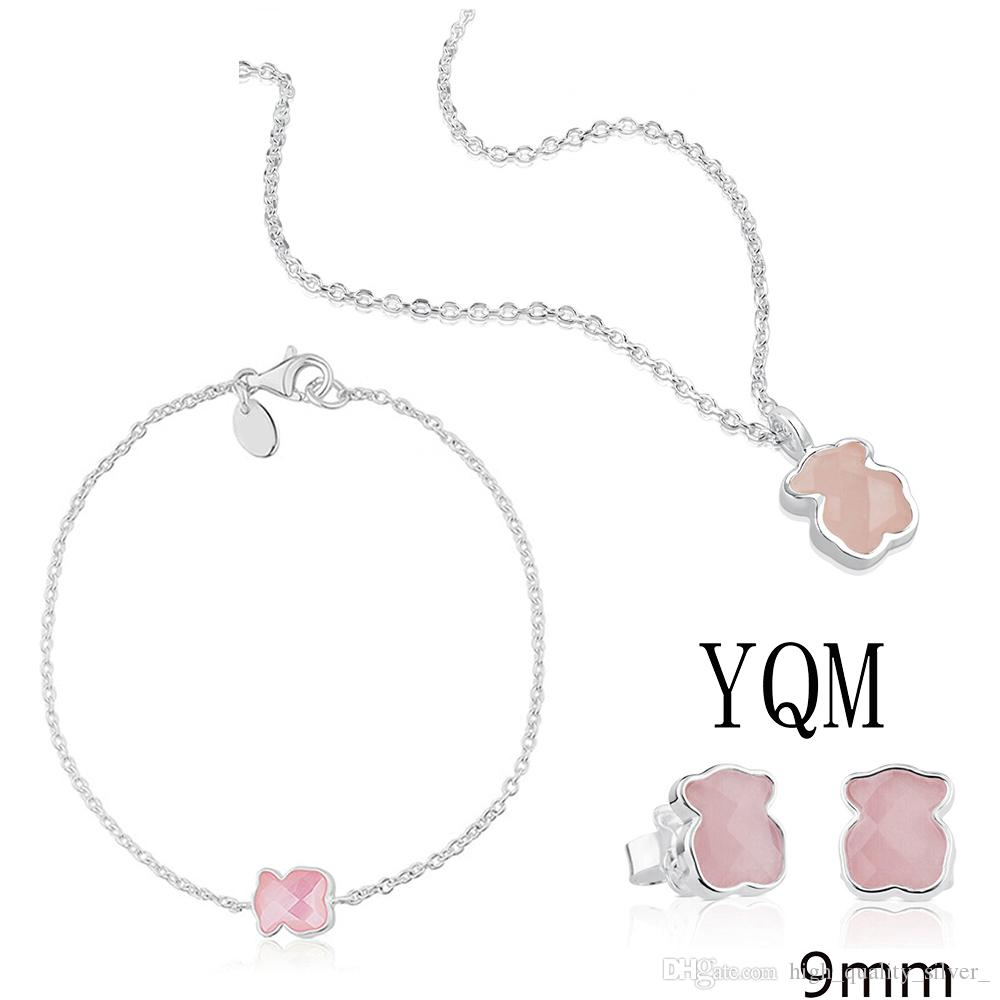 100% 925 Sterling Silver Faceted Rose Quartz Pink Bear Women Clavicle Chain Necklace Bracelet Perforated Stud Earrings