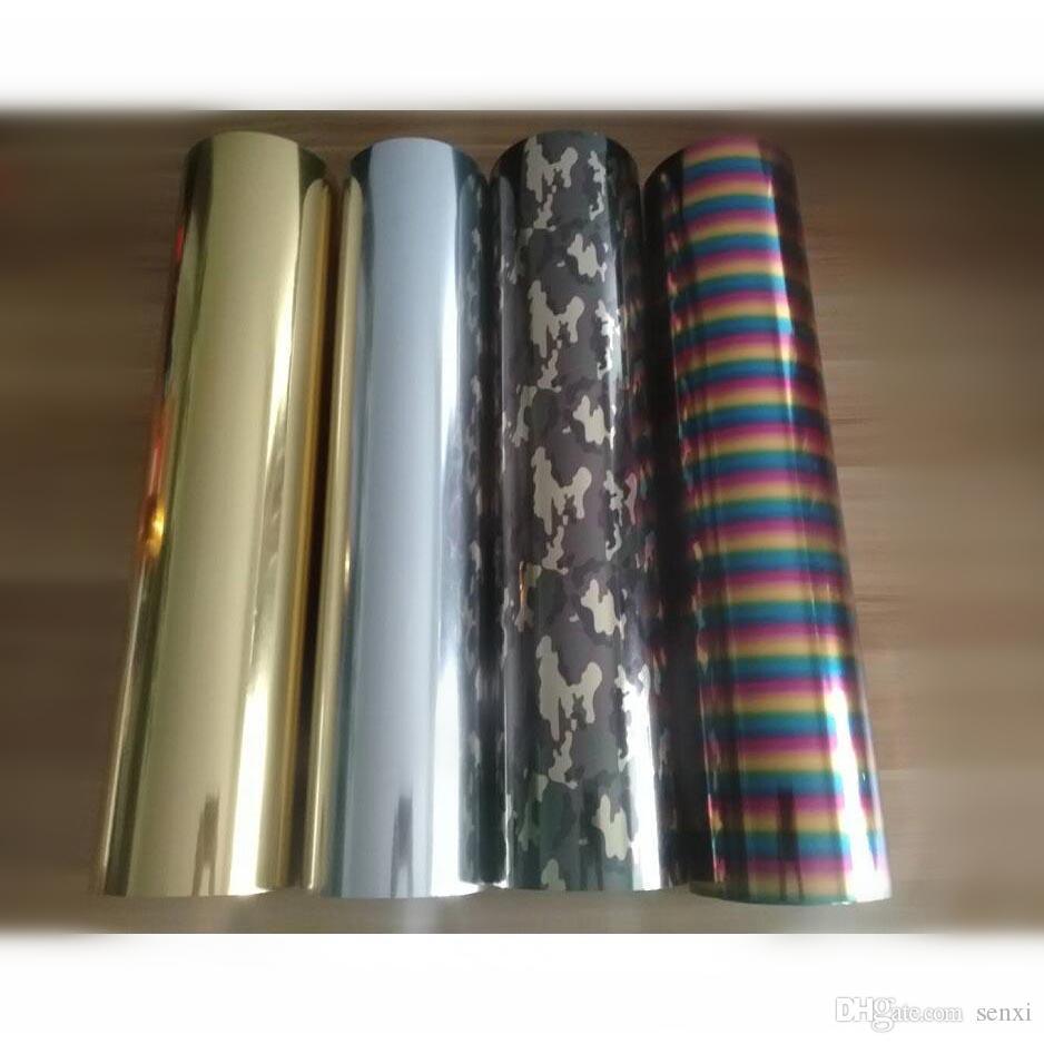 Бесплатная доставка 1 лист 25cmx50cm металлик Лазерная теплопередача винил камуфляж Радуга железо на пленке HTV