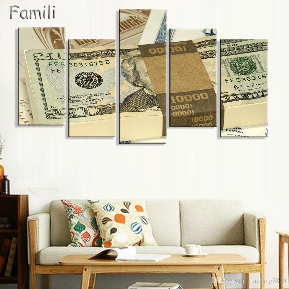 5 Paneles Lienzo Impreso Billetes de Banco Arte de la Pared Carteles Sin Marco Cuadros Modulares Cuadros Decoración HD Wall Wall Home