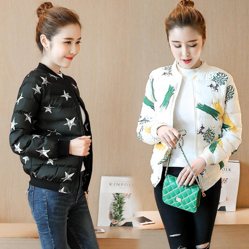 New Autumn Winter Parkas Print Cotton Jacket Thick Small Coat Female Short Slim Cotton Student Plus Size Outwear Women Parkas