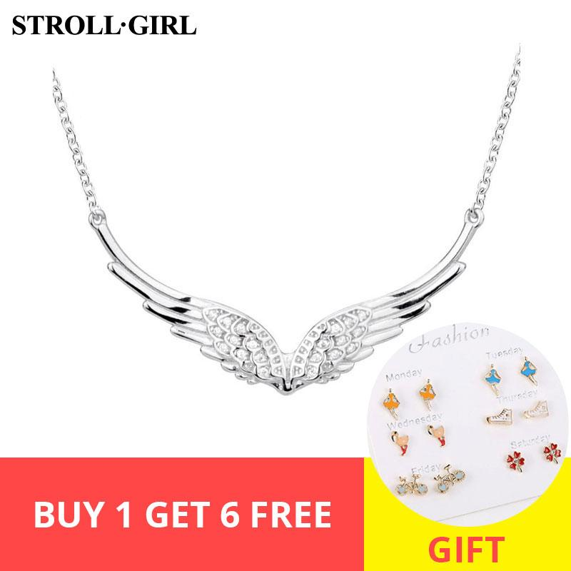 оптовые новые 925 серебряное крыло ангела ожерелье пера цепи поделки ремесла ювелирных изделий для женщин 2019 Свадебные подарки