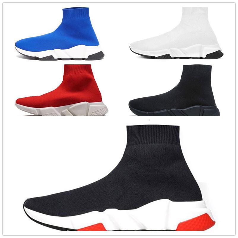 2019 Tasarımcı Ayakkabı Hız Eğitmen Marka bule siyah beyaz kırmızı Düz Moda erkek Çorap Spor ayakkabılar moda Eğitmenler Casua ayakkabı boyutu 36-45 womens