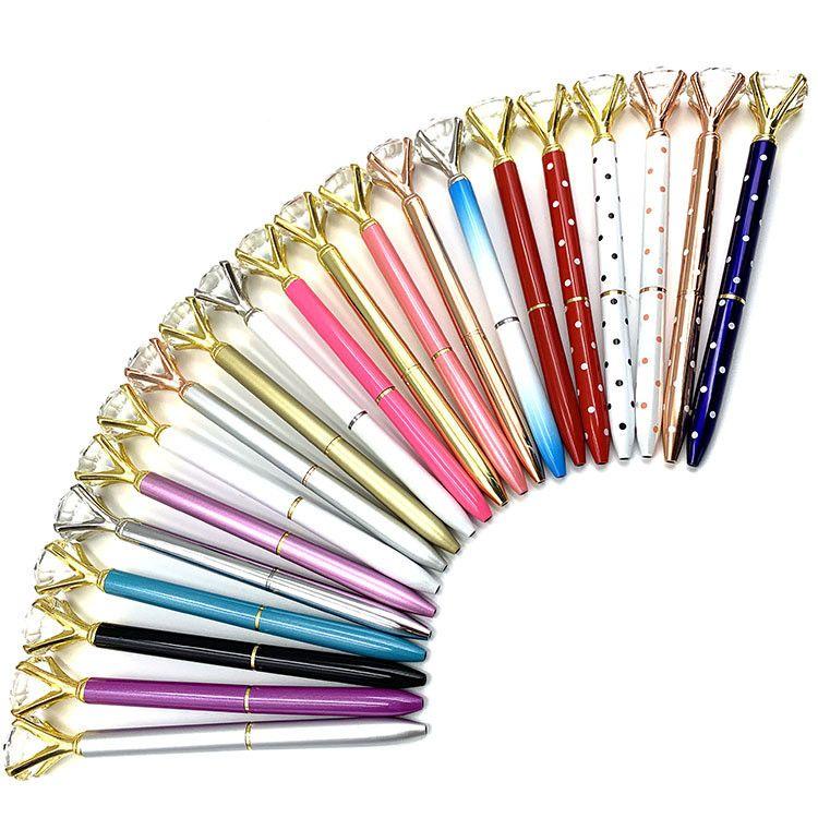 19 cores Caneta Esferográfica Criativo Cristal Kawaii menina Lady Anel Big Gem bola caneta com grandes suprimentos de diamantes de moda de escritório da escola