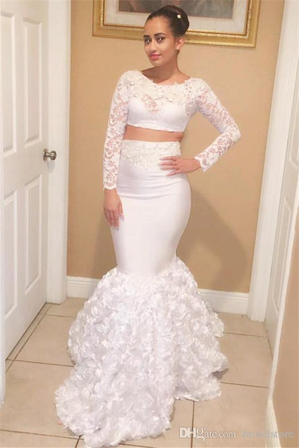 Long Sleeves Two Piece Prom Dresses