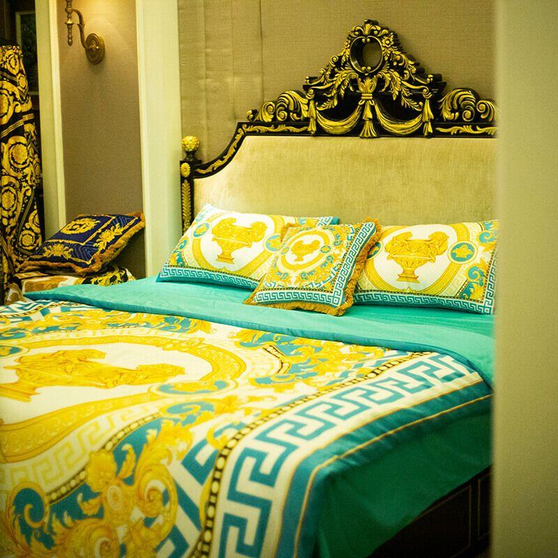 Hotel di lusso stile europeo V 5pcs blu re Bedding Set Moda King Bed Queen Size 200,23 mila centimetri copripiumino Brand Design Stampa