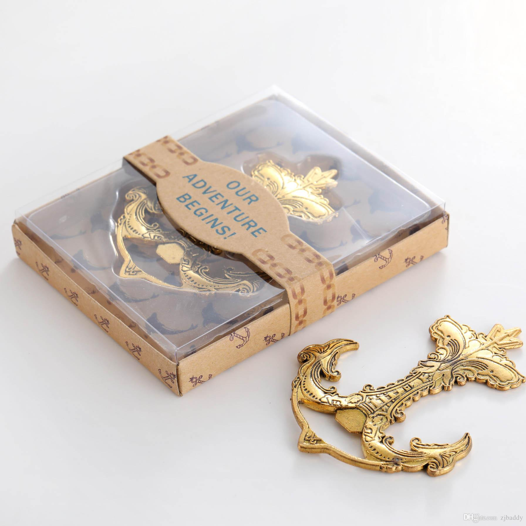 Elegante botella náutico del ancla del oro favores del abrelatas regalos de vuelta de la playa de la boda del cumpleaños recuerdos reducida 50pcs al por mayor