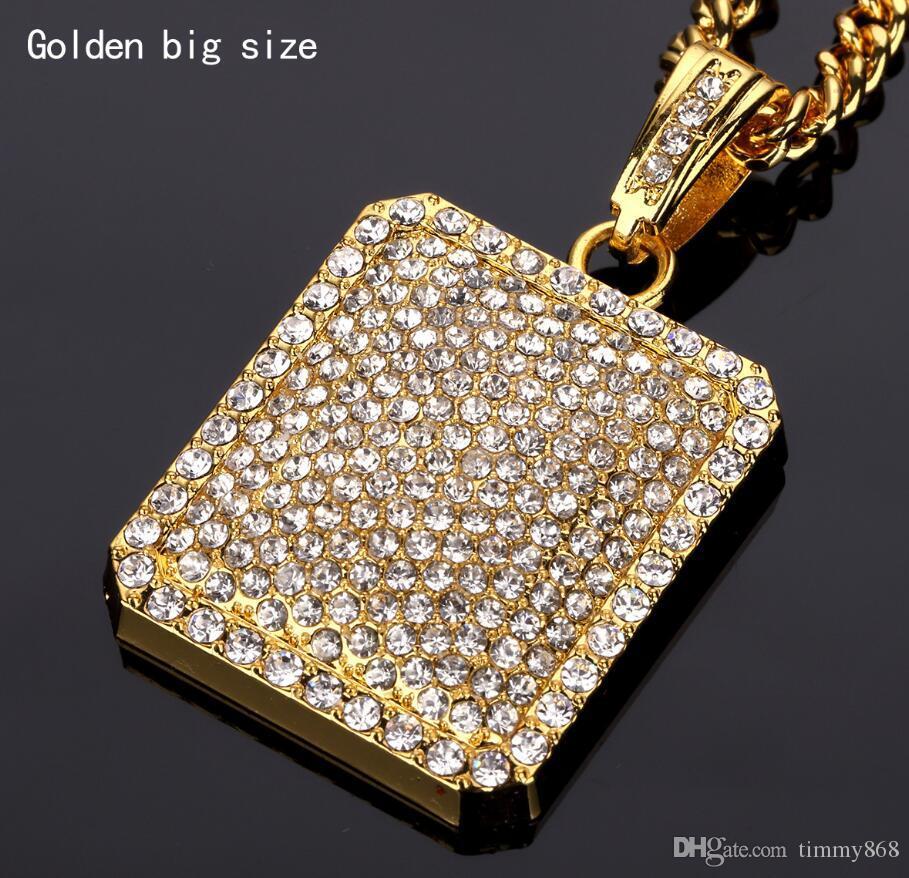 Yeni Moda Altın Kaplama Hiphop NecklacesPendants Erkekler Shining CZ Kristal Geometrik Kare Kolye Kolye 60 70 CM Zincir GM