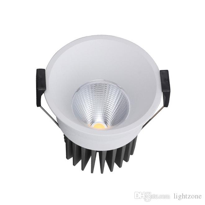 7w 10w dirigé vers le bas lumières encastrés COB haute puissance en retrait des lampes plafond CRI85 AC 110-240 boîtier noir blanc éclairage led