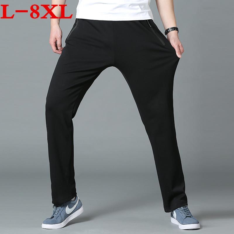 printemps et à l'automne 2020 nouvelles extensibles ainsi que de grandes pantalons casual taille hommes proches pantalons en coton loisirs lâche tricot taille plus 8XL 7XL 6XL