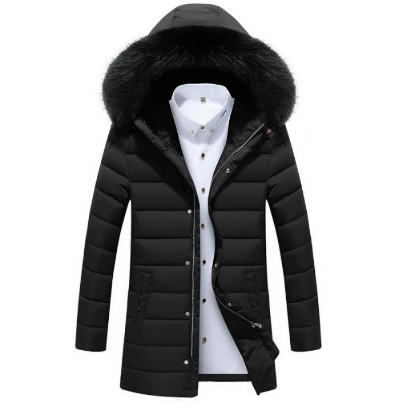 Algodón acolchado mitad de la longitud de estilo coreano Escudo de Trend MEN hombres de la ropa de invierno 2018 nuevo estilo ropa de trabajo por la chaqueta de algodón acolchado Cl