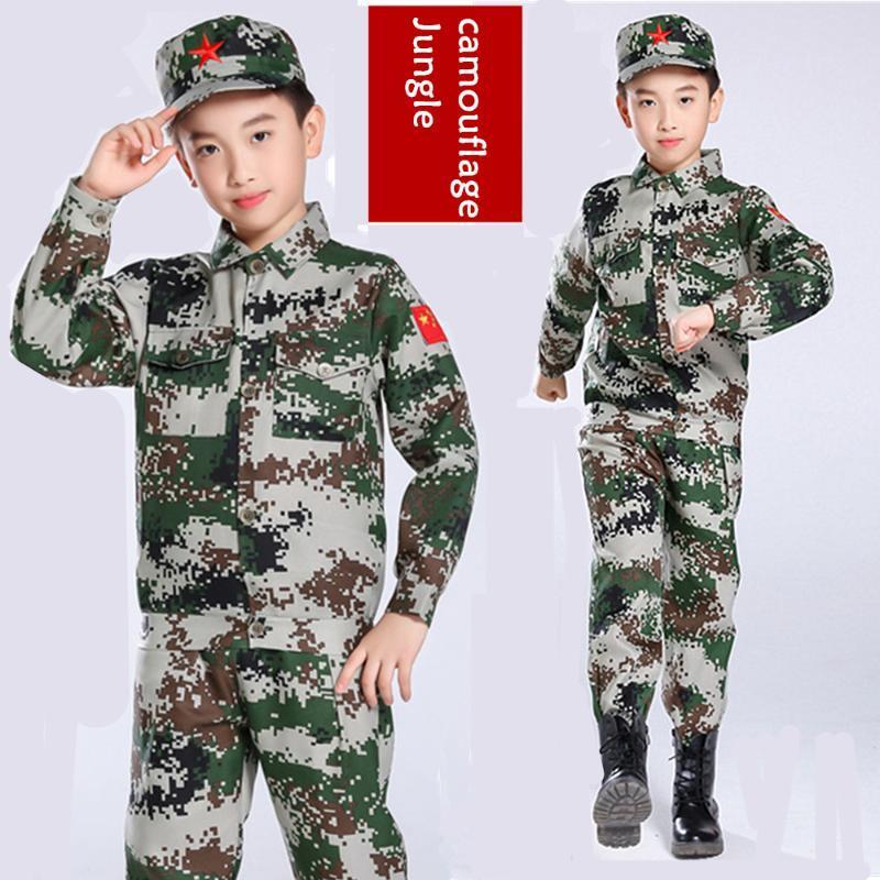 traje de camuflaje de los niños, otoño e invierno nuevo uniforme, traje de rendimiento, oficial de traje de camuflaje de la selva de los niños