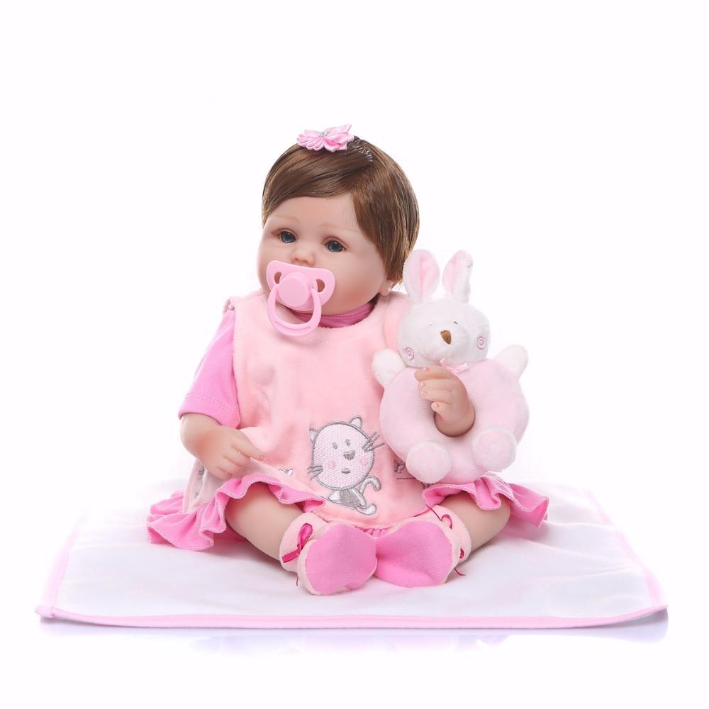 Bebe Reborn Yeni 18 Inç 42 cm Silikon Bebek Reborn Bebek Çocuk Oyuncakları Kız Hediye bebe Bebekler brinquedos bebekler Xmas kızlar için hediyeler
