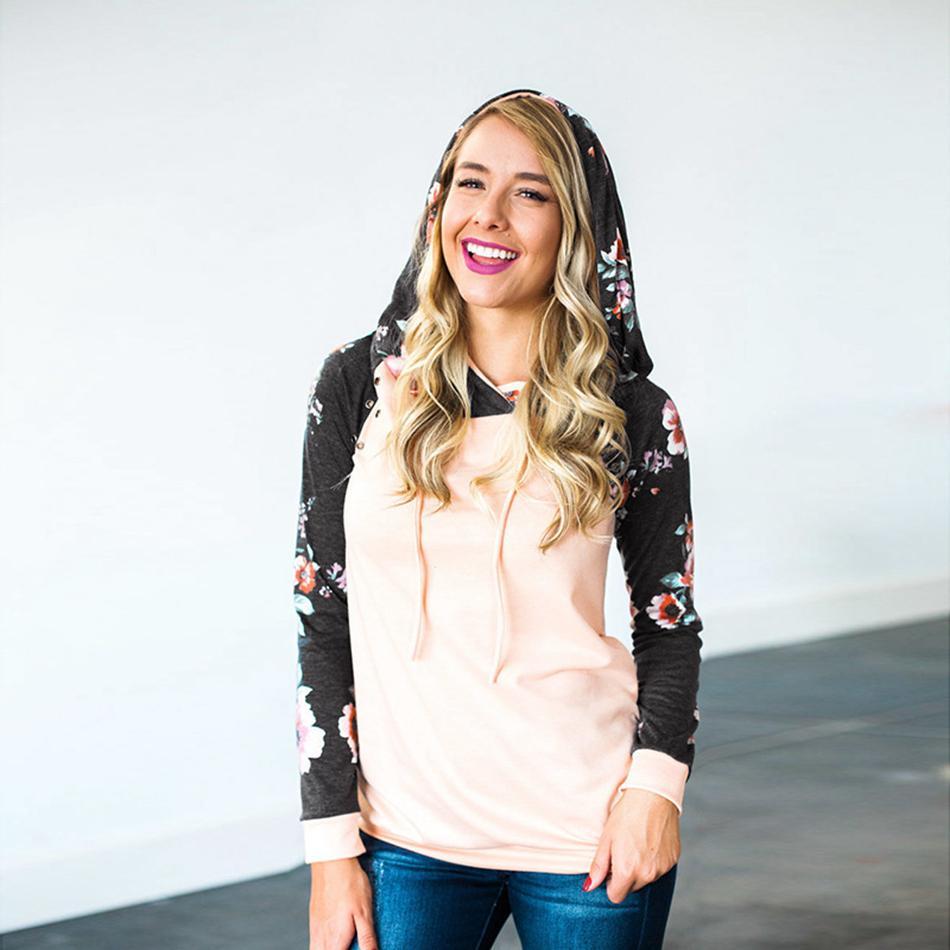 Femmes Floral patchwork à capuche Filles manches longues à capuche avec cordon de serrage Sweatshirts Tops ras du cou chemise automne Outwear LJJA3548-13