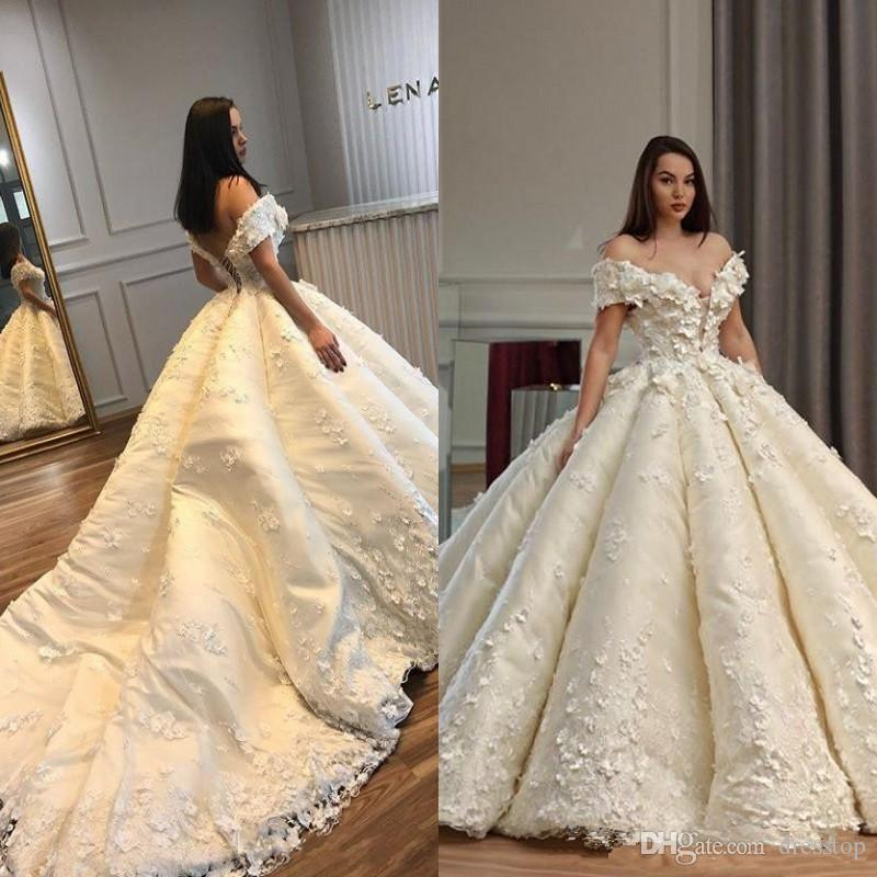 Luxury Ball Gown Wedding Dresses Off Shoulder 3d Appliqued Bridal Gowns With Cathedral Train Plus Size Dubai Arab Formal Wedding Dress Cus Ball Gown Wedding Dresses With Train Best Ball Gown Wedding