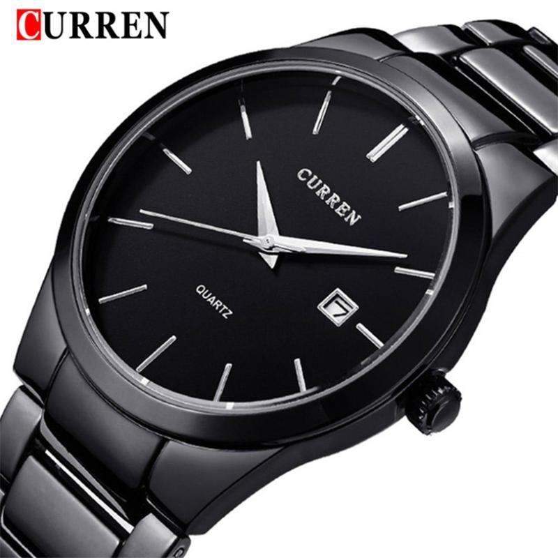 Di affari di marca Curren Uomo Casual fascia d'acciaio della vigilanza di modo semplice impermeabile calendario quarzo orologio sportivo