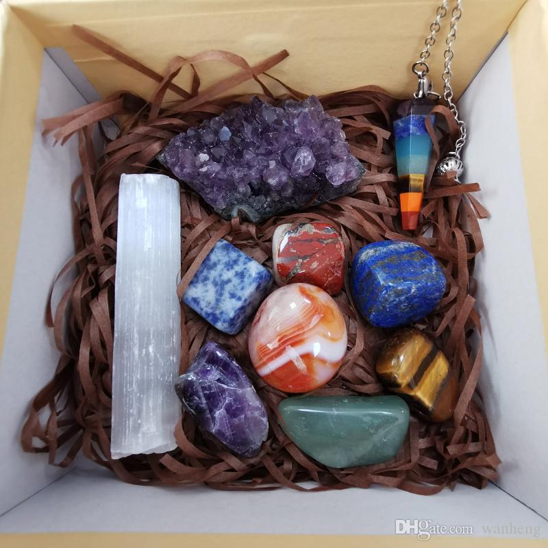 Toptan çakra şifa taşları çakra taşları set bütünsel şifalı taşlar kristal enerji çakıl Chakra Healing Stone Eskitme