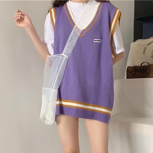 Frauen Pullunder 2019 Herbst-Winter-koreanische adrette Streifen Patchwork Maxi-V-Ausschnitt Knit Pullunder Blau Lila T362 LY191213
