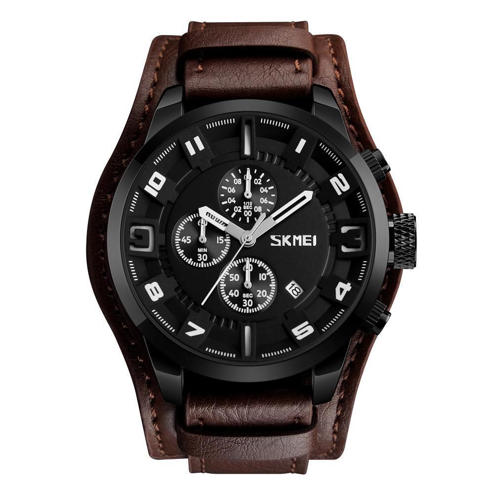 SKMEI relógio de quartzo 3ATM resistente água Homens Relógios Homem Couro Calenda Cronômetro Relógio de pulso masculino Relogio Musculino