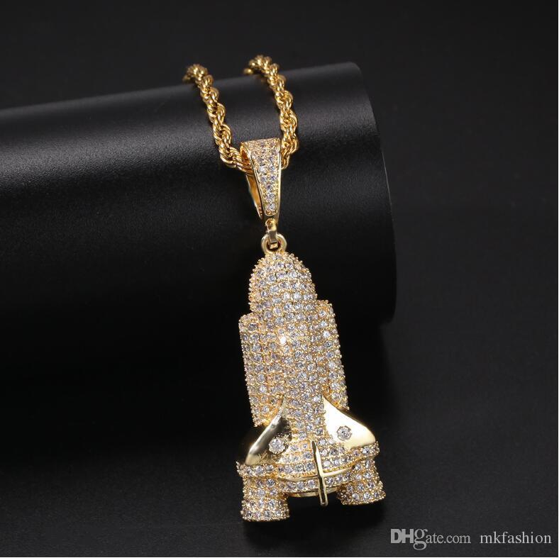 la nueva Mens NecklaceEurope y los Estados Unidos de Hip Hop Micro incrustaciones de circonio Rocket joyería de la calle de oro colgante collar de moda M011530