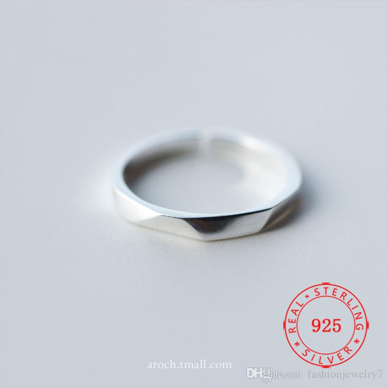 Size 5 ~ 9 Latest Design For Girl Valentine Gift Women Plain Fashion Simple Finger Pure 925 Sterling Silver Jewelry Ring
