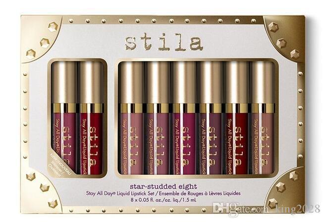NEUE Stila Star-besetzte acht bleiben alle Tage flüssigen Lippenstift-Satz 8pcs * 1.5ml / box langlebiger sahniger schimmernder flüssiger Lippenstift.