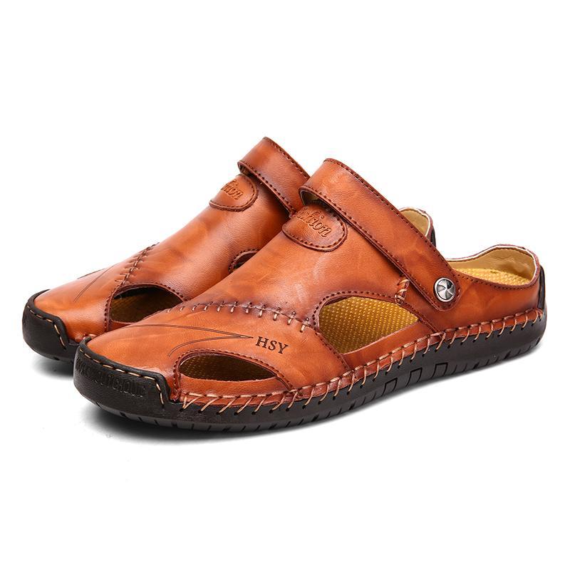 Hommes Chaussures Hommes Casual Pantoufles Half Drag plage chaussures d'extérieur Baotou évider Chaussures Homme Chaussures Lazy Slides Flats à double usage