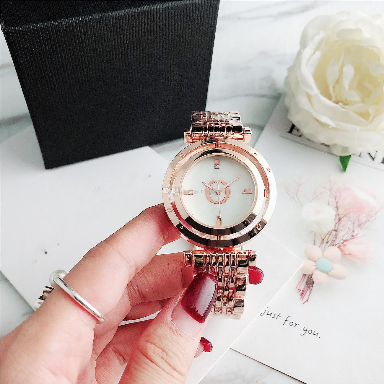 Повседневная мода Алмазный кварцевые женские часы ROYAL OAK Вращающийся циферблат часов Iced из складной пряжка Бесплатная доставка 6861B