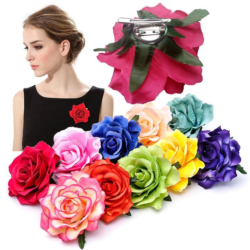 18 Colors Girls Flower Hair Accessories For Women Bride Beach Rose Floral Hair Clips DIY Bride Headdress Brooch Wedding Flores Hairpin M1269