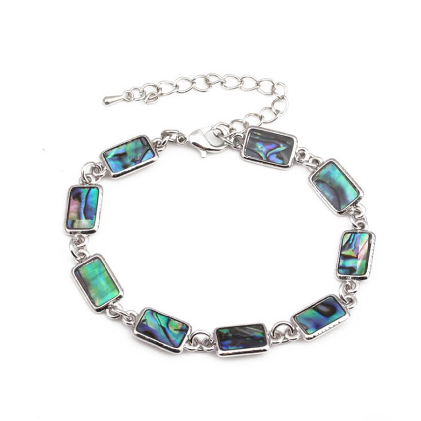 Wholesale 5 Pcs Silver Plated Link Chain Rectangle Shape Abalone Shell Bracelet for Anniversary Gift Fashion Jewelry