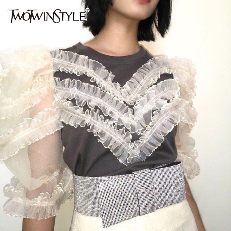 TWOTWINSTYLE Vintage Patchwork Mesh T-shirt O Lantern Neck manches mi-longues en vrac Hit couleur Volants dentelle T-shirt Femme Mode