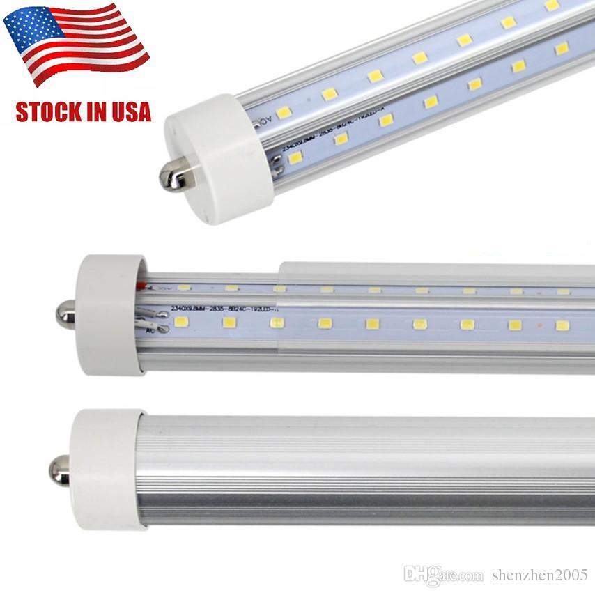 8피트 LED는 FA8 단일 핀 T8 LED 튜브 8 피트 SMD2835 이중면 전구 숍 라이트 V 모양 AC85-265V LED 조명 2400mm 점등 관