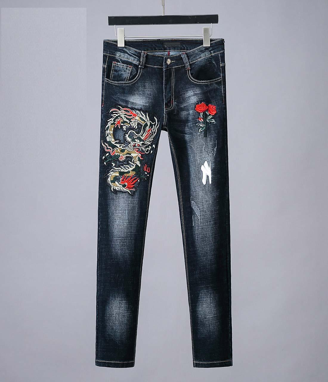 Compre Hombres Gucci De Hombre Del Disenador Nuevos Marea De Lujo G De La Moda Denim Marca Casuales Pantalones Azules Salvajes De Alta Calidad Pantalones De Lavado Totem Dragon Bordado A 42 74