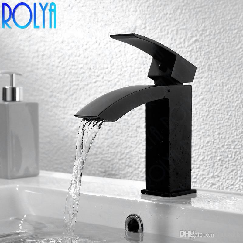 Rolya Matte Black Waterfall Basin Faucet Vessel Bathroom Mixer Tap Solid Brass