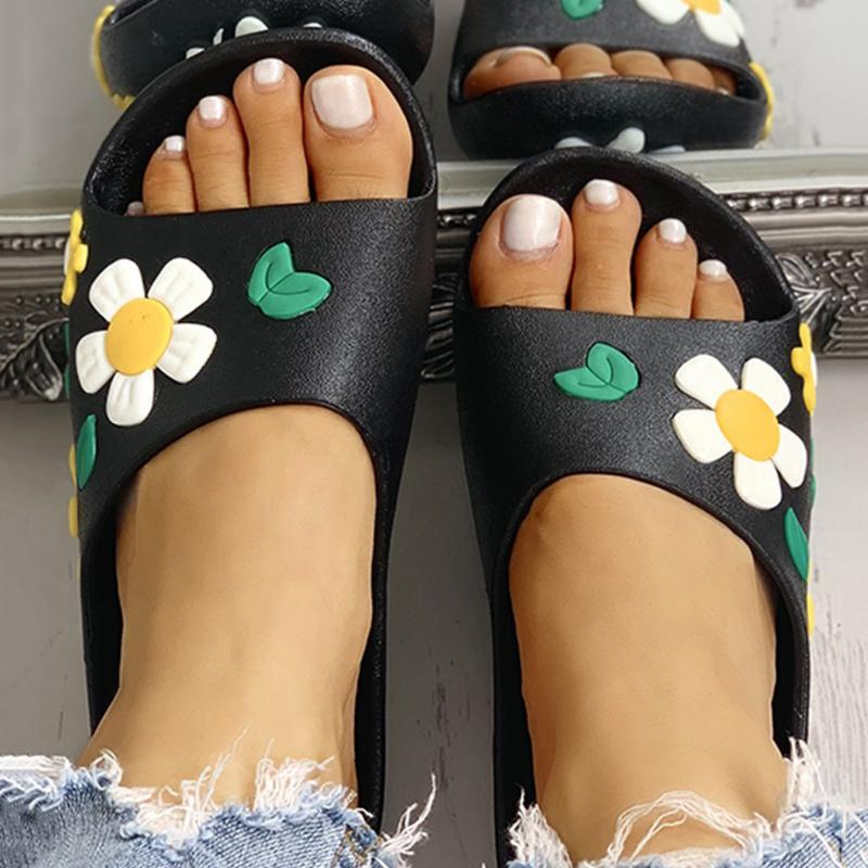 Schöne Blumen-Hausschuhe Mode Frauen im Innen- und Außenschuhe Summer Open Toe Home Damen-Strand-Schuhe Flip Flops # 0702