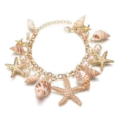 New Fashion Multi Starfish Sea Star Conch Pearl Shell Chain Bangle Bracelet Gift